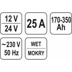 Pakrovėjas/paleidėjas 12/24V, START / BOST 30A, 350 Ah (YT-8305)