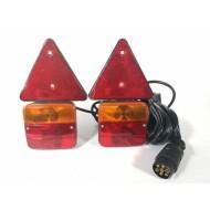 Priekabos lempos su trikampiais atšvaitais | magnetinės | su kištuku | 2 vnt. (MTL101C)