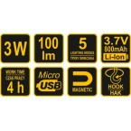 Darbo lempa akumuliatorinė Li-Ion COB LED 3W USB (82723)