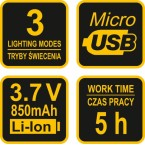Prožektorius dedamas ant galvos XPE CREE 3W 4 SMD LED Li-Ion AKU USB (88677)