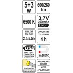 Darbo lempa akumuliatorinė lanksti, labai plona | COB-LED | 5W + 3W (YT-08518)