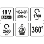 Ventiliatorius nešiojamas | hibridinis | 18V/240V | be akumuliatoriaus (YT-82933)