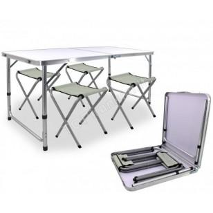 Stalas turistinis ir 4 kėdes, sulankstomi 120*80*70 cm OXE8211