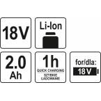 Akumuliatorius LI- ION 18V 2,0AH (YT-82842)