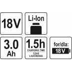 Akumuliatorius LI- ION 18V 3,0 AH (YT-82843)