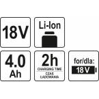 Akumuliatorius LI- ION 18V 4,0 AH (YT-82844)