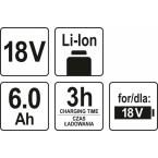 Akumuliatorius | LI- ION / 18V | 6,0 Ah (YT-82845)