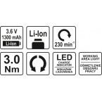 Akumuliatorinis suktukas LI-ION, 3,6V 1,3 AH (YT-82760)