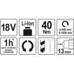 Akumuliatorinis suktukas gręžtuvas LI- ION 18V 2 greičiai, be akumuliatoriaus (YT-82781)