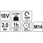 Akumuliatorinis kampinis šlifuoklis 18V, 115MM, 2,0AH (YT-82826)