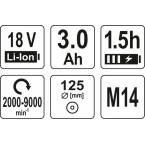Akumuliatorinis kampinis šlifuoklis | bešepetėlinis | 3 Ah | 125 mm | 18V (YT-82829)
