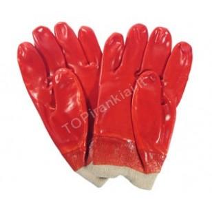 Pirštinės buitinės darbinės gumuotos raudonos 10.5 74150