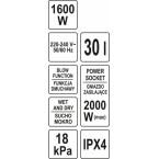 Dulkių siurblys pramoninis | drėgna ir sausa funkcija | 1600/2000 W / 30 l (YT-85715)