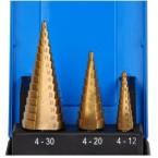 Grąžtai skylės platinimui pakopiniai | Titano nitridas | Ø 4 - 30 mm | 3 vnt. (1624)