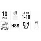 Grąžtų rinkinys | HSS-Titan | 1 - 10 mm | 10 vnt. (YT-44674)