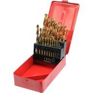 Grąžtų metalui rinkinys 19 dalių, HSS, 1-10 mm (22330)