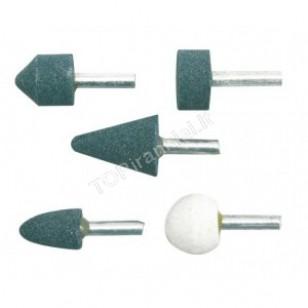 Rinkinys šlifavimo antgalių 5 vnt. 6 mm keramikiniai 25400