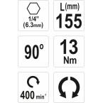 Kampinis priedas antgaliams 90°   1/4 (6,3mm) (YT-04631)