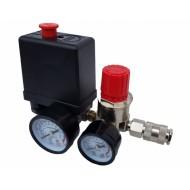 Reguliatorius kompresoriui su slėgio jungikliu ir manometrais | 230V (SK10677)