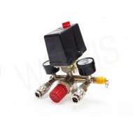 Reguliatorius kompresoriui su slėgio jungikliu ir manometrais | 380V (SK10679)