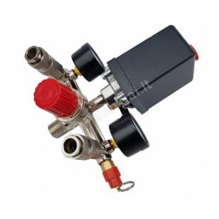 Reguliatorius kompresoriui su slėgio jungikliu ir manometrais | 230V (SK10681)