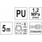 Pneumatinė žarna su antgaliais 8 x 12mm 5M, PU (YT-24207)