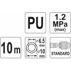 Pneumatinė žarna su antgaliais 6.5 x 10mm 10M, PU (YT-24205)