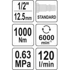 Pneumatinis smūginis veržliasukis   12.5 mm (1/2)   1000 Nm (YT-09528)