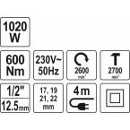 Elektrinis smūginis veržliaraktis 1/2 600Nm/1020W (YT-82021)