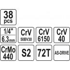 Galvučių rinkinys 1/4 38 vnt. Cr-V YT-14471 YATO