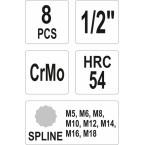Smūginių antgalių rinkinys Spline, M5-M18, 1/2 (YT-1069)