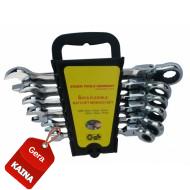Terkšlinių raktų komplektas vartoma galvute 8-17 mm. 6 vnt. (ER-1206)
