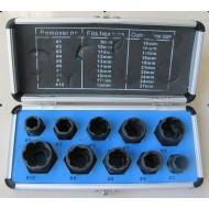 Galvučių komplektas sugadintiems varžtams 10vnt, 9-19 mm (SK1530)