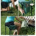 Sulankstomas sodo suoliukas su kelių apsauga ir įrankių krepšiu | 2 viename (ST-1)