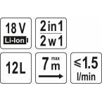 Akumuliatorinis purkštuvas   2 viename   18V / be akumuliatoriaus (YT-86211)