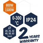 Plastikinių vamzdžių (PVC) suvirinimo aparatas 0-300C, su rinkiniu (78910)